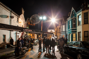 Exteriors started with a night shoot in Bangor. Photo (c) Pinewood Films No.6 Limited