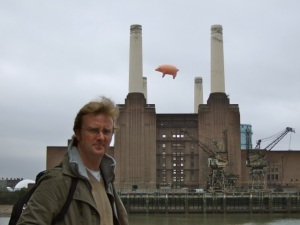 Me and Battersea Power Station in happier times (I'm on the ground!)