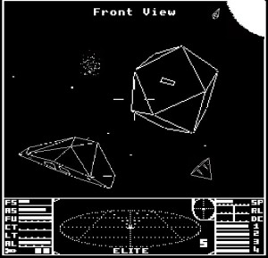 That triangle thing is a spaceship, the dodecahedron thingy with the letterbox is a space station.