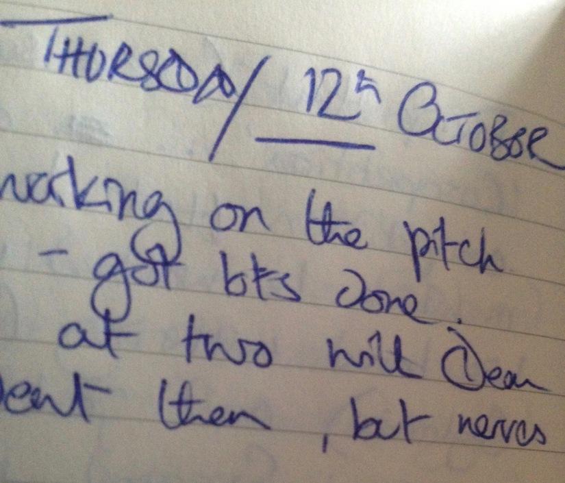 Film London Microschool, My Writing Diary, Ten Years On, Thursday 12th & Friday 13th October,2006