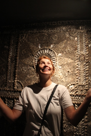 Claire in the shell grotto in Margate
