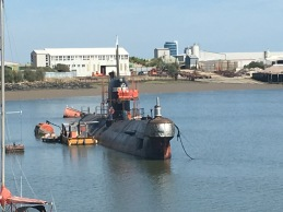 The Foxtrot Class Russian sub currently rusting in the Medway in Rochester